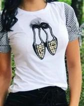 Camiset manga cuadros con zapatos en perlas